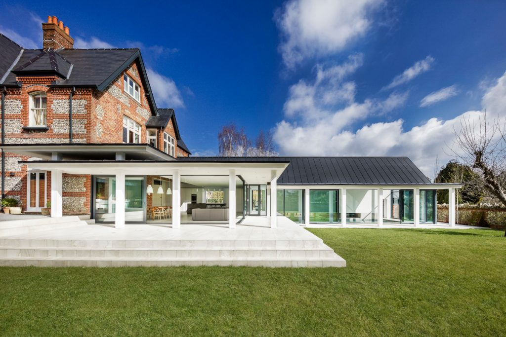 House with modern extension showing indoor outdoor interior design