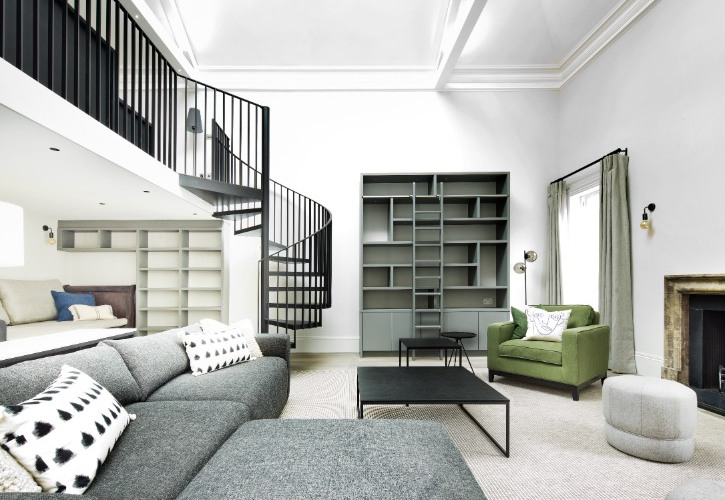 Interior Architecture - Contact - Living Room with Black Spiral Staircase