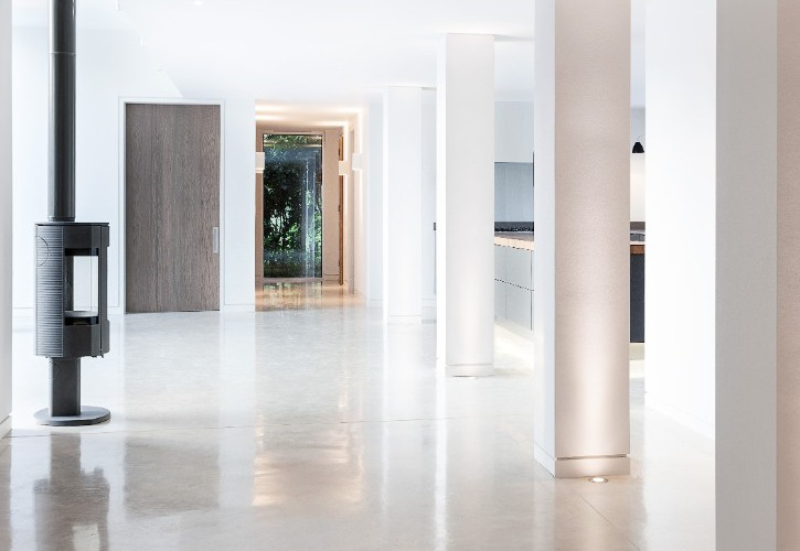 Interior Architecture - Our Approach - White Minimalist Kitchen and Woodburner