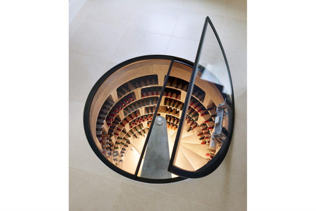 Spiral cellar with door open